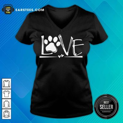 Premium Dog's Footprint Love V-neck