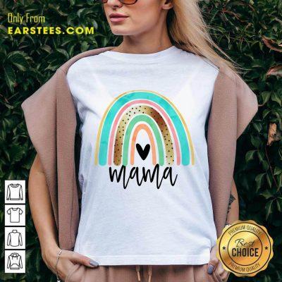 Premium Leopard Rainbow Mama V-neck