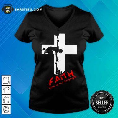 Pretty Faith God Is My Strength V-Neck