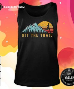 Pretty Hit The Trail Runner Retro Running Graphic Tank Top