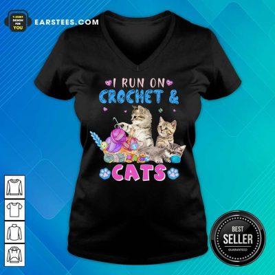 Pretty I Run On Crochet And Cats V-Neck