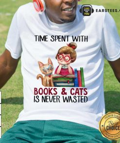 Time Spent With Book And Cat Is Never Wasted Shirt