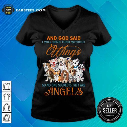 Nice Wings Dog And God Said Angels V-Neck