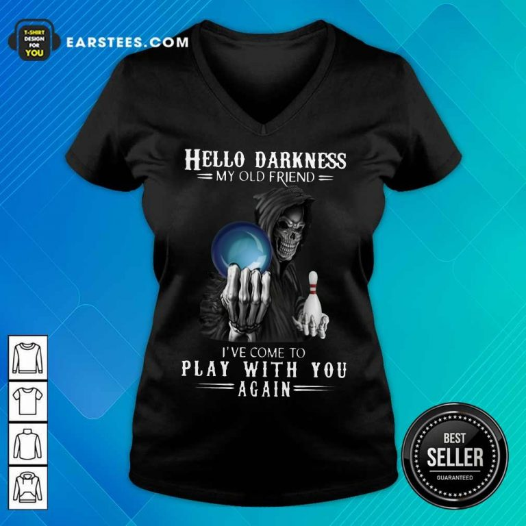 Top Devil Bowling Hello Darkness My Old Friend V-Neck