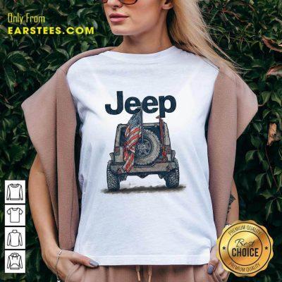 Top Jeep American Flag V-Neck
