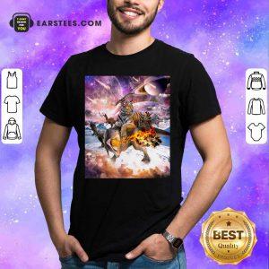 Big Cat Tiger Riding Dinosaur In Space Premium Shirt