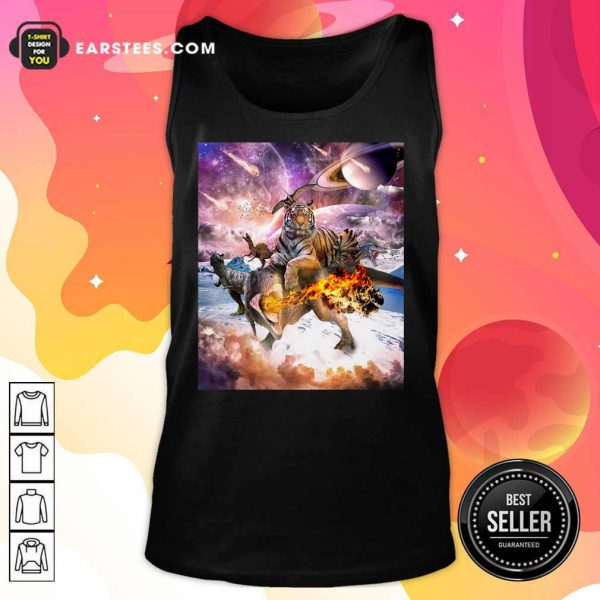 Big Cat Tiger Riding Dinosaur In Space Premium Tank Top