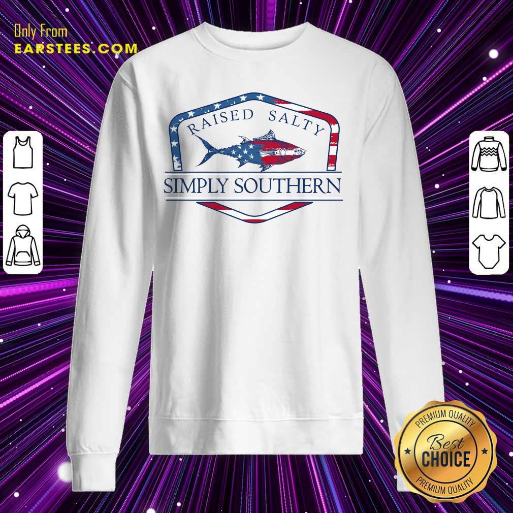 Fish Raised Salty Simply Southern Flag Sweatshirt