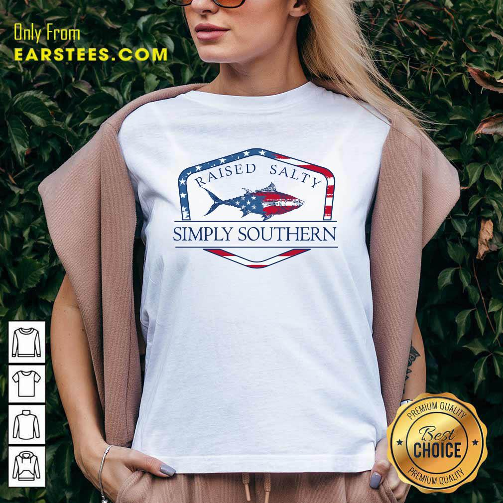 Fish Raised Salty Simply Southern Flag V-neck