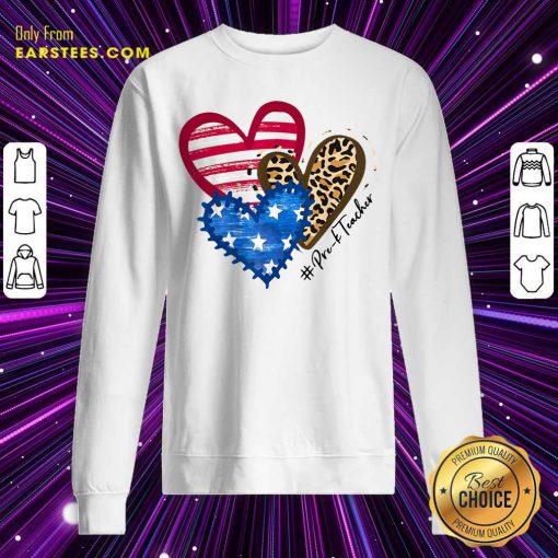 Heart USA Leopard Pre-k Teacher Sweatshirt