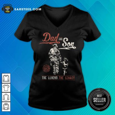 Hot Dad And Son The Legend The Legacy V-Neck
