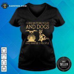 I Like Motorcycles And Dogs German Shepherd V-neck