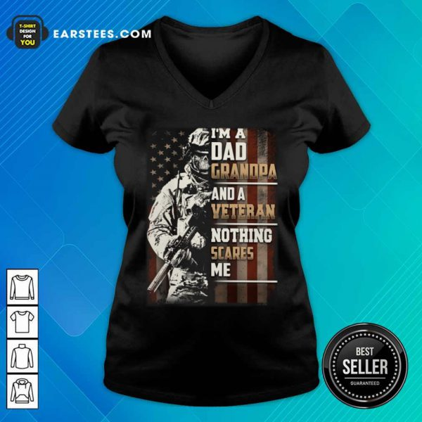 I'm A Grandpa And A Veteran Nothing Scares Me American Flag V-neck