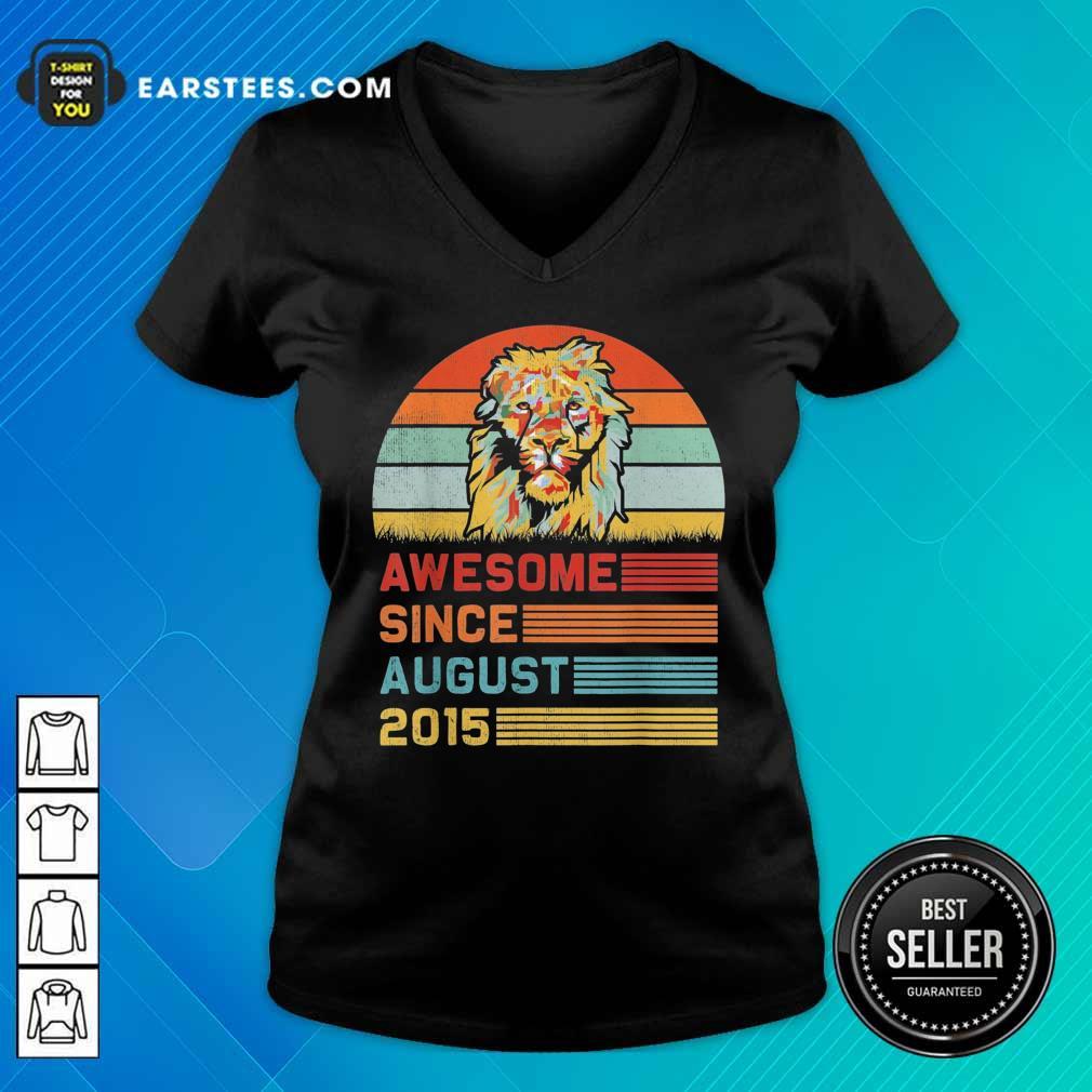 Lion Awesome Since August 2015 Vintage V-neck