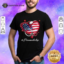 Nice Heart American Flag Paramedic Shirt