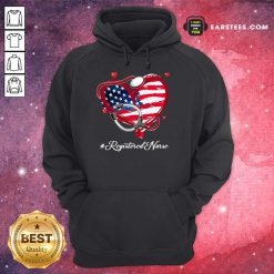 Nice Heart American Flag Registered Nurse Hoodie
