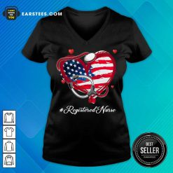 Nice Heart American Flag Registered Nurse V-Neck
