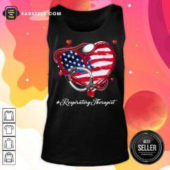 Nice Heart American Flag Respiratory Therapist Tank Top