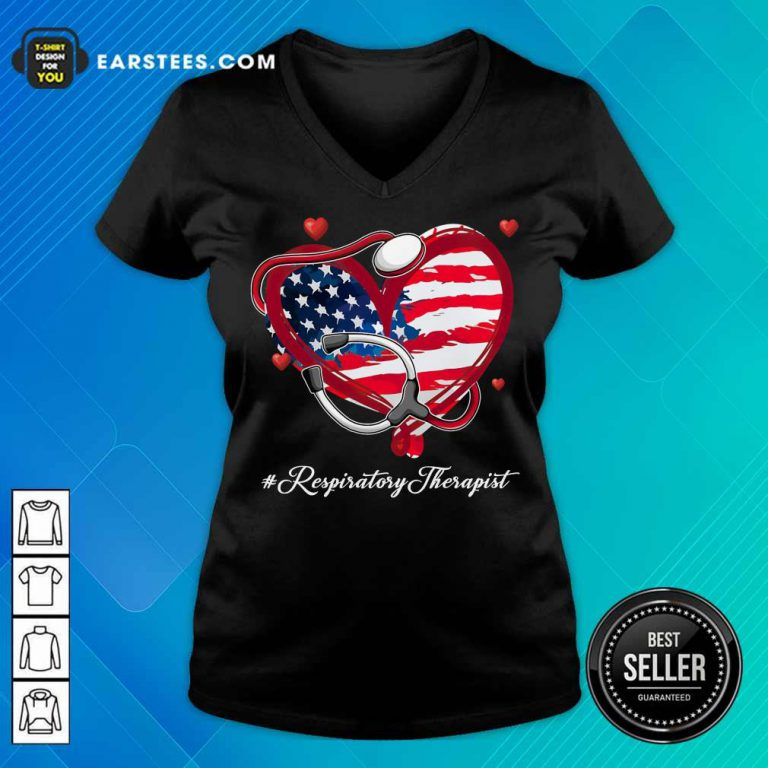 Nice Heart American Flag Respiratory Therapist V-Neck