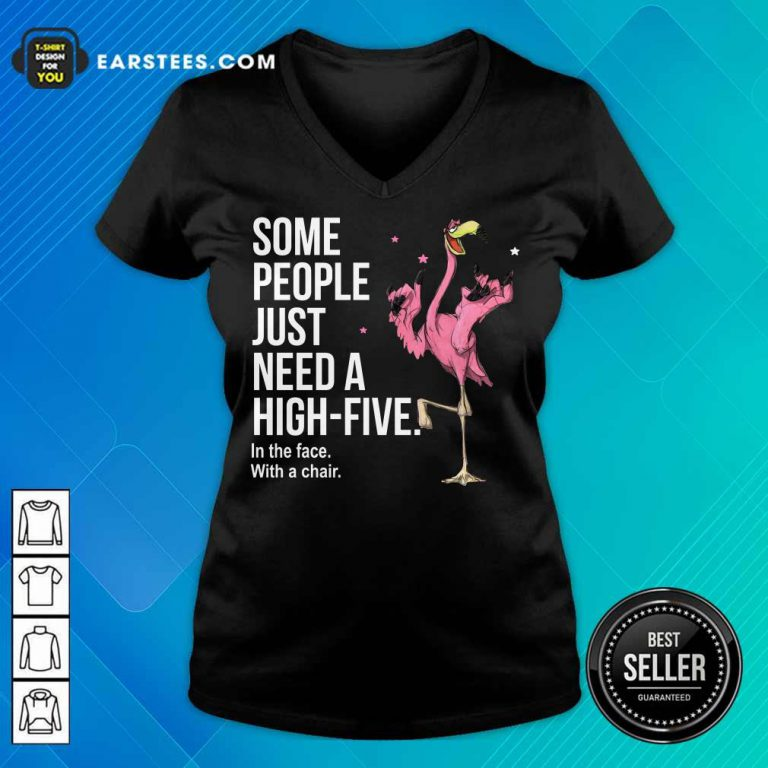 Nice Just Need A High Five Flamingo V-Neck