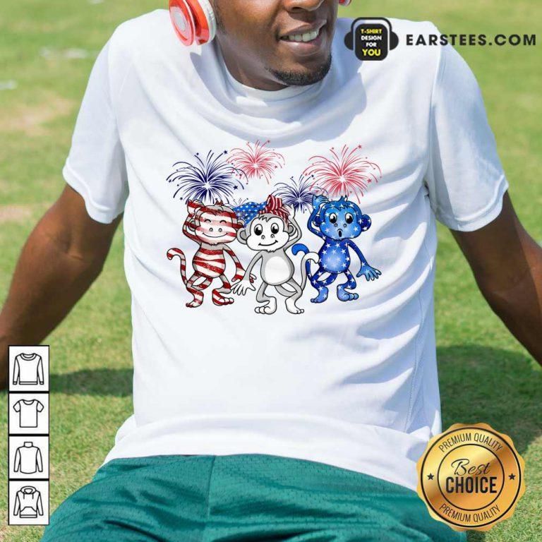 Nice Monkey Firework American Flag Shirt