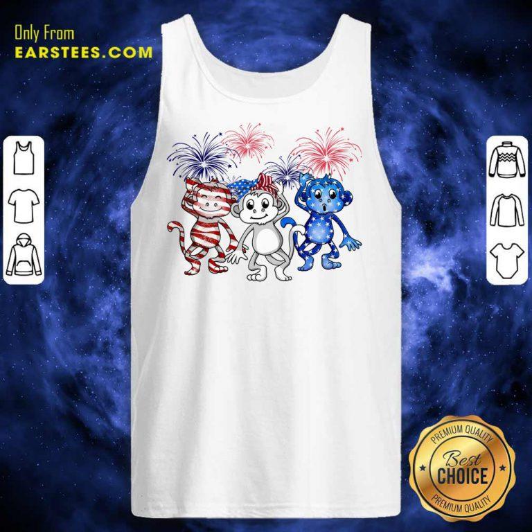 Nice Monkey Firework American Flag Tank Top