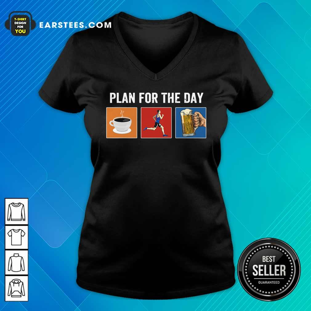 Plan For The Day Coffee Running Beer V-Neck