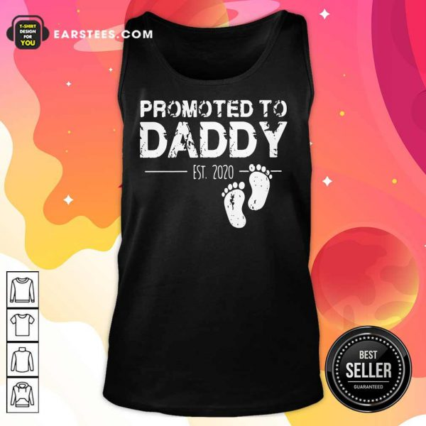 Promoted To Daddy Est 2020 Baby Footprints Tank Top