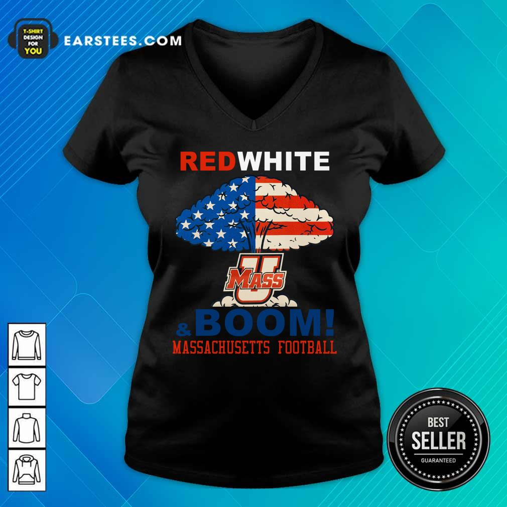 Red White Mass And Boom Massachusetts Football American Flag 4th Of July V-neck
