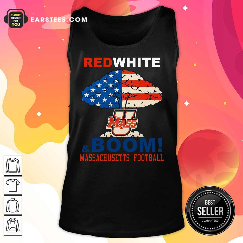 Red White Mass And Boom Massachusetts Football American Flag 4th Of July Tank Top