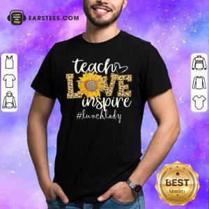 Teach Love Inspire Cute Sunflower Leopard Lunch Lady Shirt
