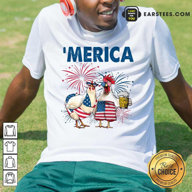 Top Chicken Drinking Beer 'Merica Independence Day Shirt