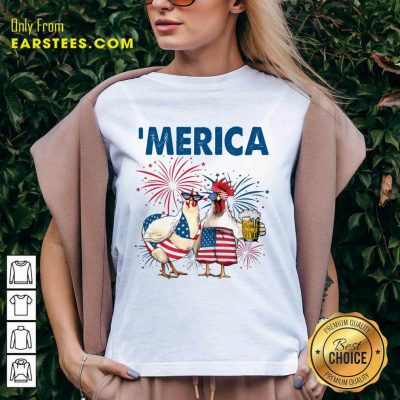 Top Chicken Drinking Beer 'Merica Independence Day V-Neck