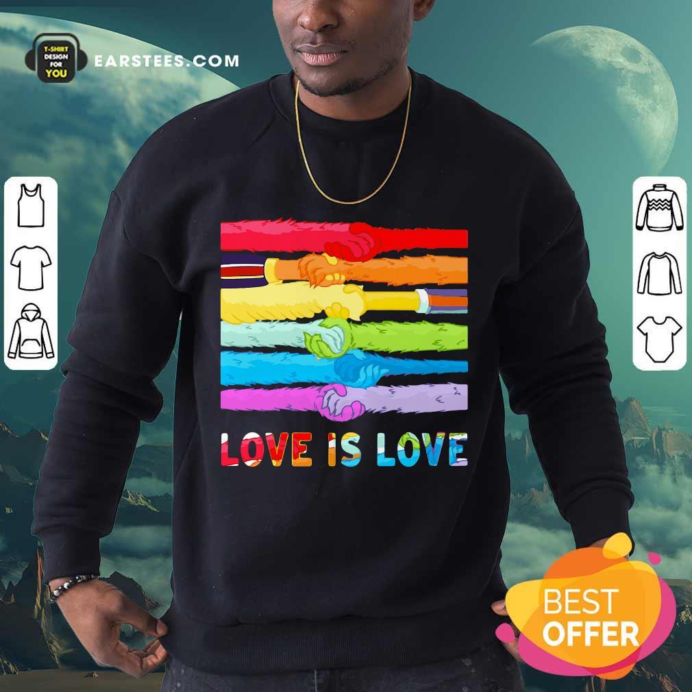 Top LGBT Love Is Love Hold Hand Sweatshirt