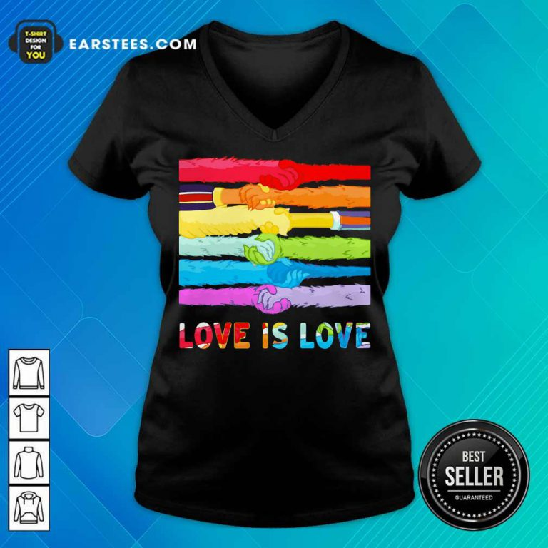 Top LGBT Love Is Love Hold Hand V-Neck