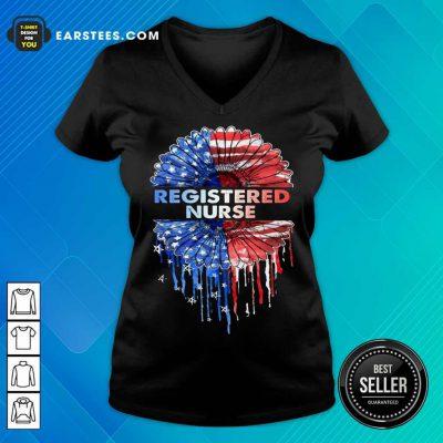Top Registered Nurse American Flag V-Neck