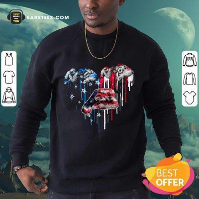 Top Sloth Heart American Flag Sweatshirt