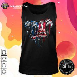 Top Sloth Heart American Flag Tank Top