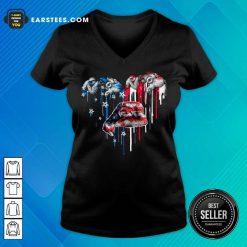 Top Sloth Heart American Flag V-Neck