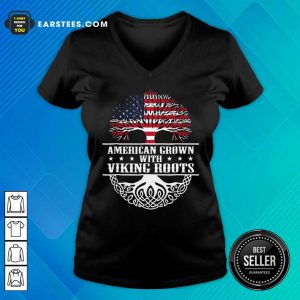 American Grown With Viking Roots American Flag V-neck