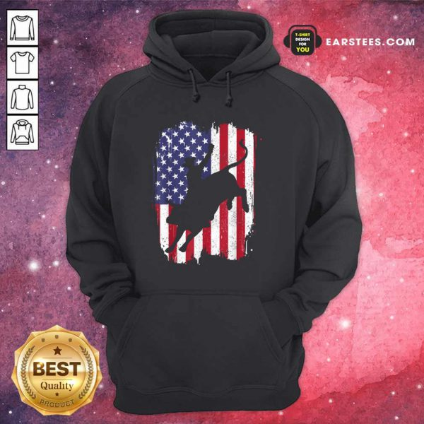 Bull Riding American Flag 4th Of July Hoodie