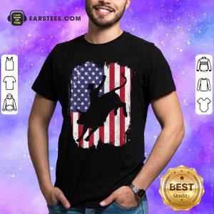 Bull Riding American Flag 4th Of July Shirt