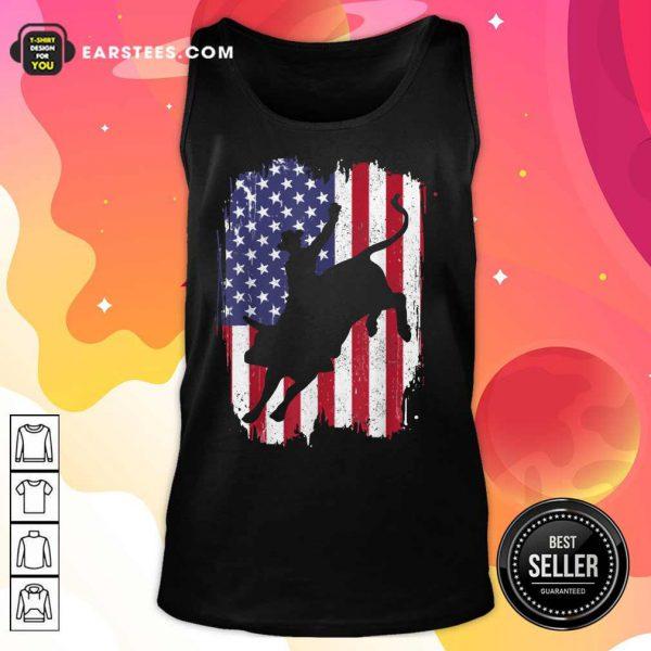 Bull Riding American Flag 4th Of July Tank Top