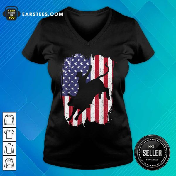 Bull Riding American Flag 4th Of July V-neck