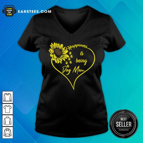 Heart Sunflower Happiness Is Being Dog Mom V-neck