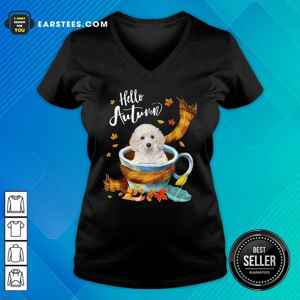 Hello Autumn White Toy Poodle V-neck