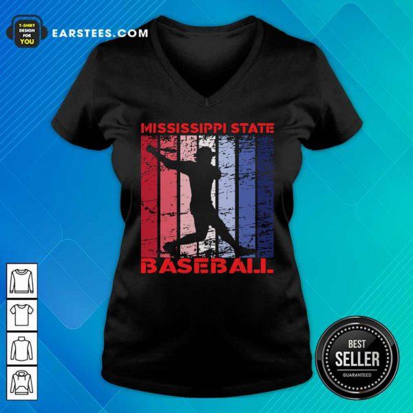 Mississippi State Baseball Vintage V-neck
