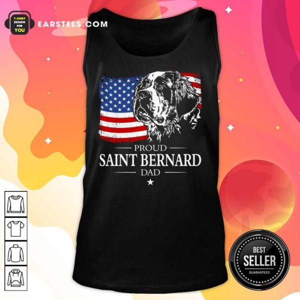 Proud Saint Bernard Dad American Flag 4th Of July Tank Top