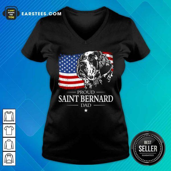 Proud Saint Bernard Dad American Flag 4th Of July V-neck