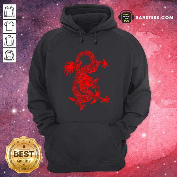 Red Tribal Dragon Chinese Firedrake Art Print Hoodie